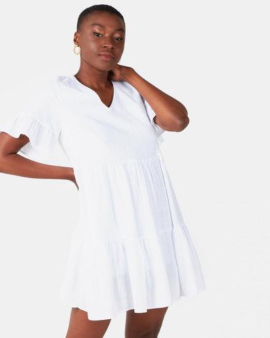 Royal T White Ruffle V Neck Dress White