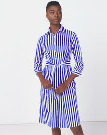 Royal T Striped Long Tie Dress Blue/White