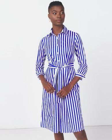 Royal T Striped Long Tie Dress Blue/White