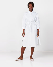 Royal T Long Tie Collar Dress White