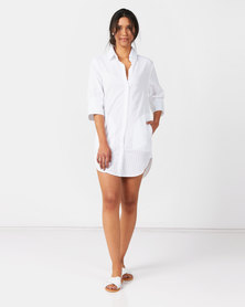 Royal T  Loose Pocket Dress White