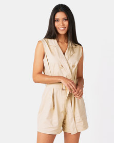 Royal T Safari Style Romper Camel