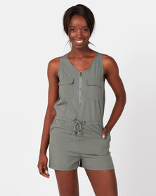 Royal T V Neck Playsuit  Khaki