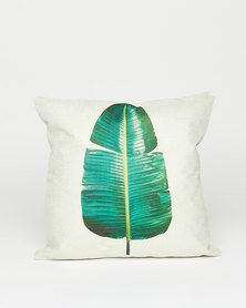 Utopia Banana Leaf Scatter Cushion Off White/Green