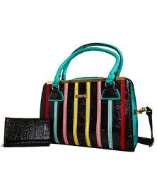 Fino Colourful PU Leather Croc Hand & Shoulder Bag & Purse Set - Black