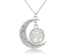 Urban Charm Glow In the Dark Tree of life and Crescent Moon Necklace - Blue