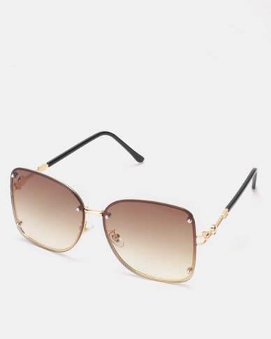 You & I Gold Rimless Butterfly Sunglasses