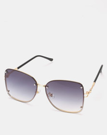 You & I Gold Grey Gradient Rimless Butterfly Sunglasses