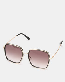You & I Shiny Black and Gold Square Sunglasses