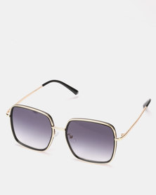 You & I Shiny Grey and Gold Square Sunglasses