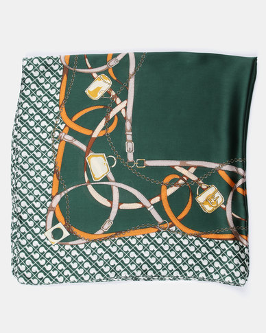 You & I Classic Print Green Silky Touch Scarf