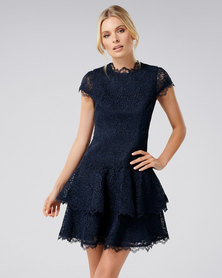 Forever New Camilla Short Sleeve Lace Dress Navy