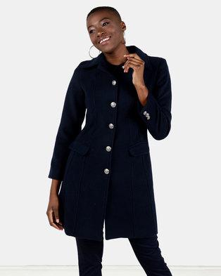 HEMISA - Burberry inspired, wool melton Joshna coat - Navy