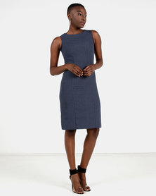 HEMISA - Timeless wool shift dress - Blue