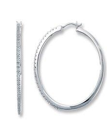 CRCS Jewellers 925 Hoop Earrings Sterling Silver - 30mm