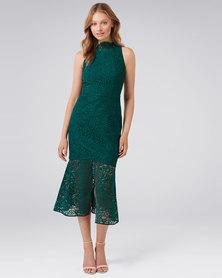 Forever New Raikki Lace Fishtail Dress Deep Ivy