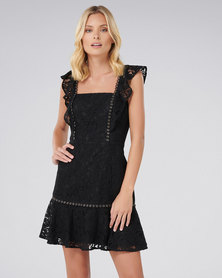 Forever New Pia Lace Flippy Dress Black
