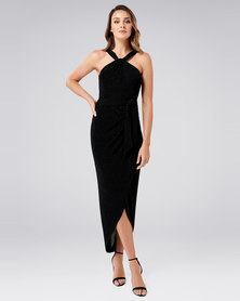 Forever New Jasmine Glitter Twist Dress Black