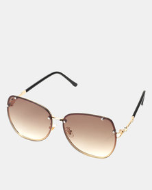 You & I Gold Brown Gradient Butterfly Sunglasses