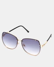 You & I Gold Grey Gradient Butterfly Sunglasses