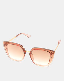 You & I Transparent Caramel Butterfly Sunglasses