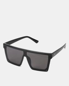You & I Shiny Black Medium Sports Luxe Shield Sunglasses