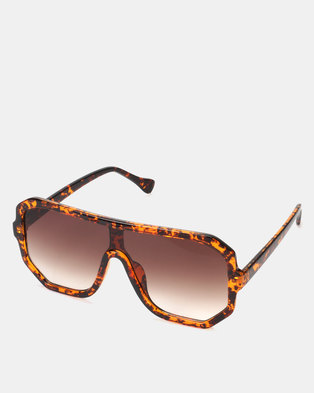 2c43d8a5085e You & I Brown Oversized Hexagon Sports Luxe Shield Sunglasses