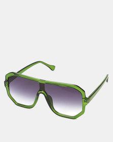You & I Emerald Green Oversized Hexagon Sports Luxe Shield Sunglasses