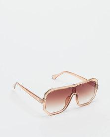 You & I Trans Caramel Oversized Hexagon Sports-luxe Shield Sunglasses