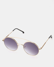 You & I Gold Double Bar Vintage Looking Round Sunglasses