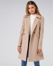 Forever New Kari DB Coat Camel