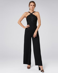 Forever New Ally Lace Bodice Jumpsuit Black