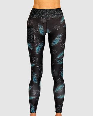 1b1ddeb87dfd Vivolicious Wispy Tech Tights Leggings Black Turquoise