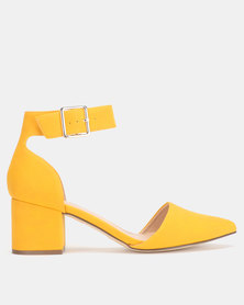 Call It Spring AGRALERIA Yellow Mid Ankle Strap Heel Pump