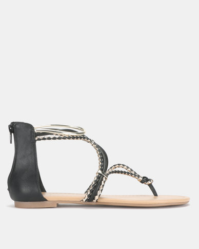 Call it Spring JELLES Strappy Black Flat Sandals