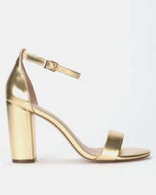 Call it Spring TAYVIA Gold High Heeled Ankle Strap Sandal