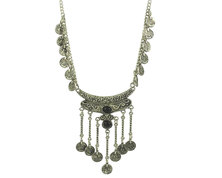 Urban Charm Boldly Boho Tibetan Silver Goddess Necklace with Antique Coins