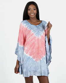Allegoria Pink/Light Blue Midi Kaftan Soft Tie Dye
