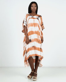 Allegoria White/Brown Short Sleeve Maxi Dress Low Front