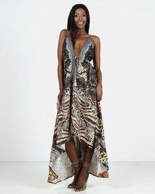 Allegoria Brown Animal Print Halter Neck Maxi Dress