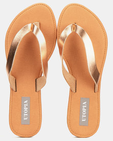 Utopia Leather Thong Sandal Rose Gold