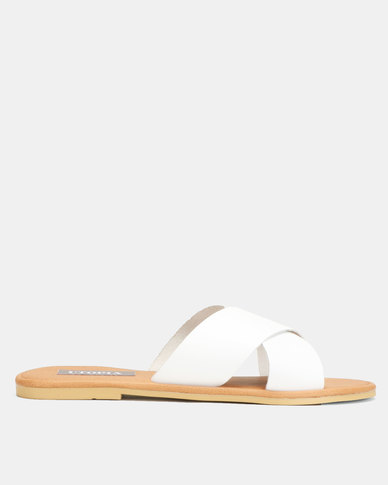 Utopia Leather Cross Strap Mule White
