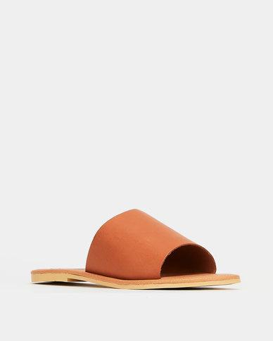 Utopia Leather Slides Tan