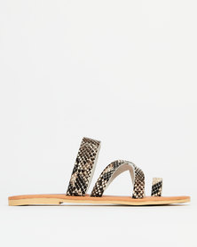 Utopia Leather toe post Sandal Snake