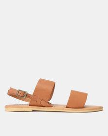 Leather Double Strap Sandal Tan