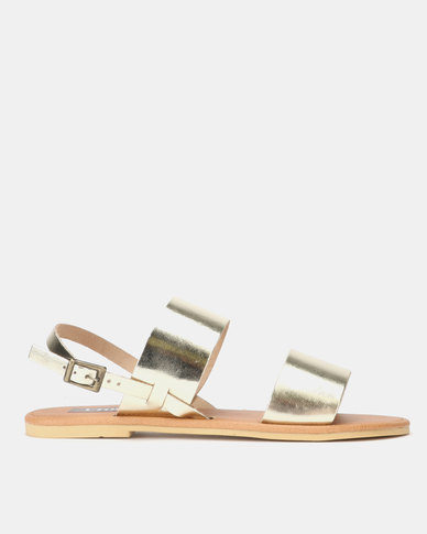 Leather Double Strap Sandal Gold