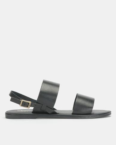 Leather Double Strap Sandal Black