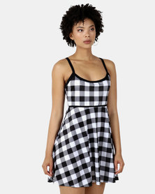 Sun Things Jacqueline Strappy Swimdress  - Black/White Gingham