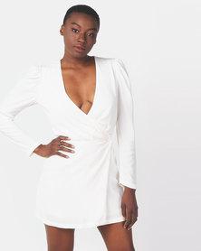 Ivyrevel Woven Wrap Mini Dress Off White