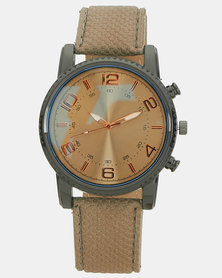 You & I Metalic Modern Utility Watch Taupe